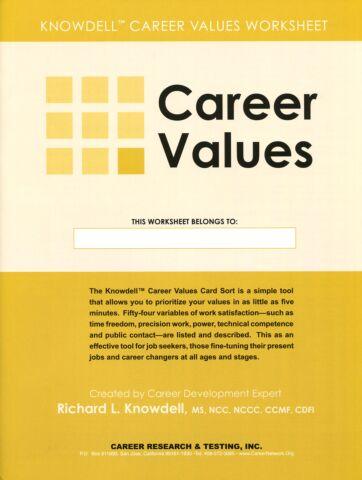Career Values Worksheet (pkg 25)