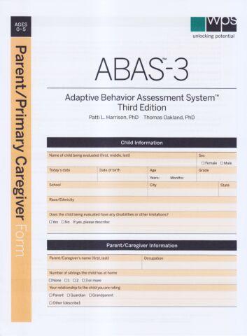 ABAS-3 Parent/Primary Caregiver Form (pkg 25)