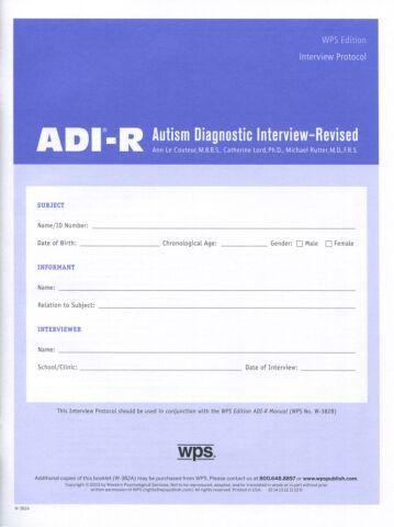 ADI-R Interview Booklet (pkg 5)