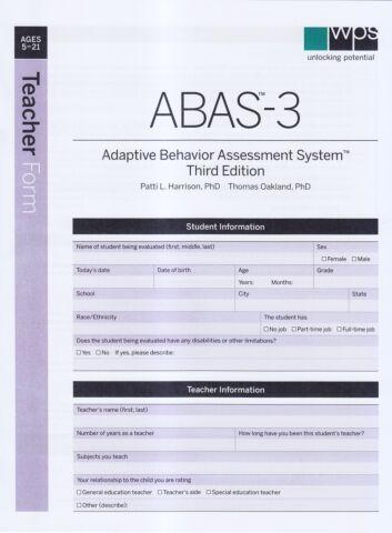ABAS-3 Teacher Form (pkg 25)